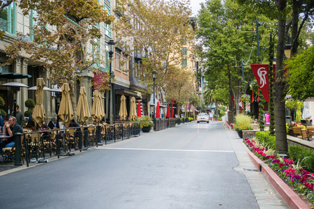 November 8, 2017 San JoseCAUSA - Street lined up with cafes in the European style inspired shopping district Santana Row, San Francisco bay area, California