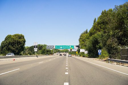 Freeway junction in south San Francisco bay area, California