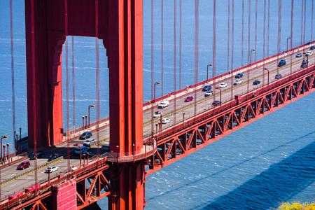 Aerial view of traffic on Golden Gate Bridge, San Francisco, California
