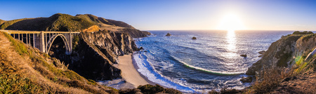 Panoramic view of Bixby Creek Bridge and the dramatic Pacific Ocean coastline, Big Sur, California