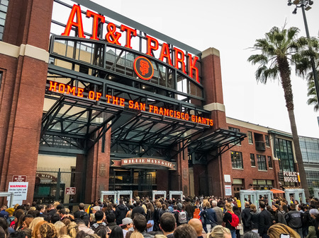 August 21, 2018 San Francisco  CA  USA - Crowds of people waiting to go inside AT&T Park for the Ed Sheeran concert