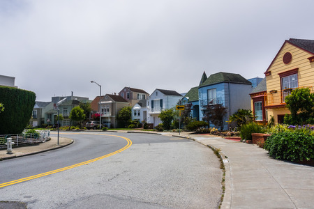 Residential street in the Golden Gate Heights neighborhood, San Francisco, California Stock fotó