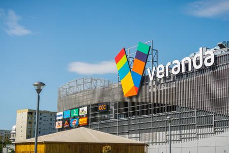 September 12, 2017 Bucharest, Romania - Veranda mall facade near Obor market