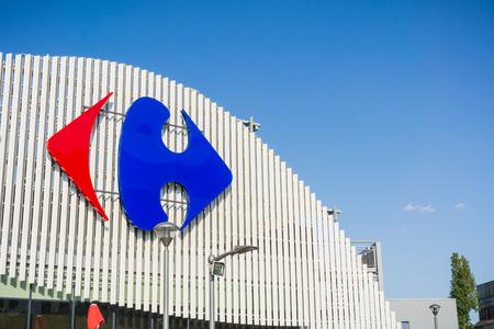 September 13, 2017 Bucharest, Romania - Carrefour logo above the store entrance Editorial