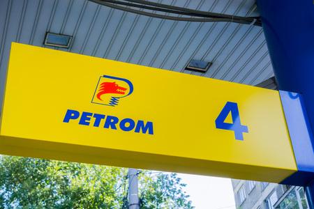 September 16, 2017 BucharestRomania - Petrom logo at a gas station