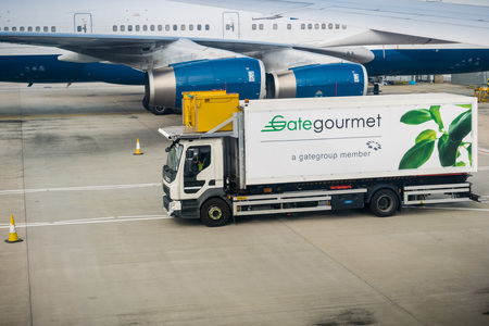 September 24, 2017 LondonUK - Gate Gourmet truck delivers food and drink to the air crafts about to depart from Heathrow airport