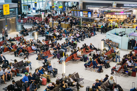 September 10, 2017 LondonUK - Aerial view of waiting area at Heathrow airport