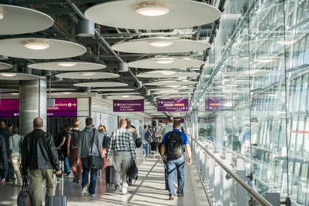 September 24, 2017 LondonUK - People walking through the hallways of Heathrow Airport