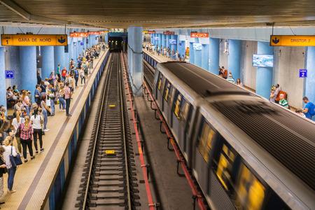 September 15, 2017 Bucharest/Romania - Train arriving at Obor subway stop