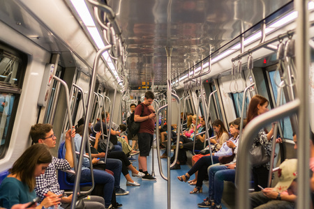 September 13, 2017 Bucharest, Romania - People riding in the subway Banco de Imagens - 113347869