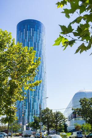September 15, 2017 Bucharest/Romania - Sky tower office building near Promenada mall