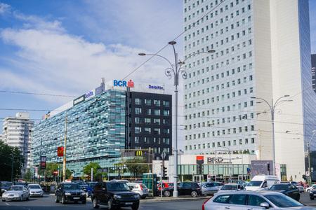 September 22, 2017 BucharestRomania - Office buildings in Victory Square (Piata Victoriei) Editorial