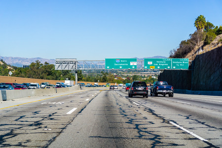 December 3, 2018 Los Angeles  CA  USA - Travelling on Highway 405 towards I5; heavy traffic on the other direction; damaged asphalt Editorial