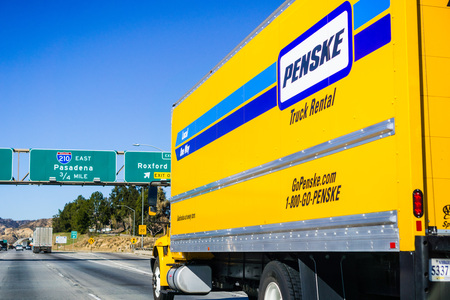 December 3, 2018 Los Angeles  CA  USA - Penske rented truck driving on the freeway