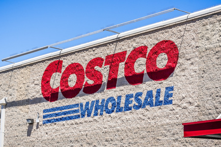 August 6, 2018 Mountain View  CA  USA - Costco Wholesale logo displayed on the wall of one of the stores in south San Francisco bay area