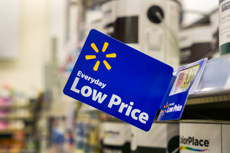 """September 4, 2018 San Jose / CA / USA - Walmart's """"Everyday low price"""" tagline posted inside one of their stores located in south San Francisco bay area"""