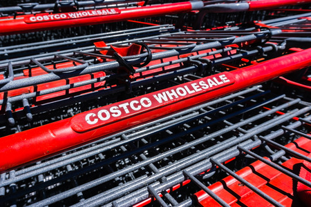 August 6, 2018 Mountain View  CA  USA - Close up of Costco Wholesale logo printed on the shopping carts stacked in front of one of the stores in south San Francisco bay area