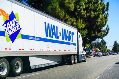 August 26, 2018 Mountain View / CA / USA - Walmart truck driving on the streets of south San Francisco bay area