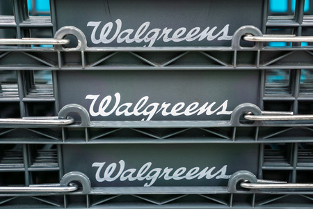 August 14, 2018 Sunnyvale  CA  USA - Walgreens logo displayed on shopping baskets in one of their locations in south San Francisco bay area