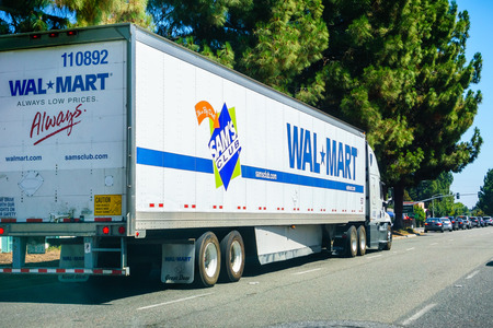 August 26, 2018 Mountain View  CA  USA - Walmart truck driving on the streets of south San Francisco bay area