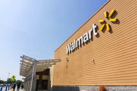 September 4, 2018 San Jose / CA / USA - Walmart store entrance and facade displaying the Company's logo, south San Francisco bay area