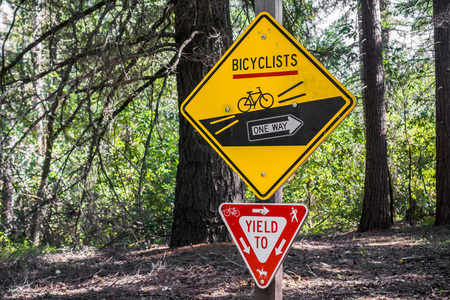 Signs depicting the rules to be followed by cyclists and other trail users, San Francisco bay area, California
