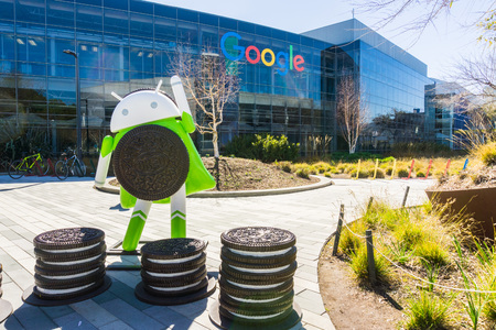 """March 7, 2018 Mountain View / CA / USA - Android 8.0 """"Oreo"""" is the newest version of the Android mobile operating system; Here is a statue located at the Company's main HQ in Silicon Valley"""