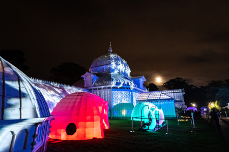 December 23, 2018 San Francisco / CA / USA - Outside view of the Conservatory of flowers, illuminated for the Night Bloom event