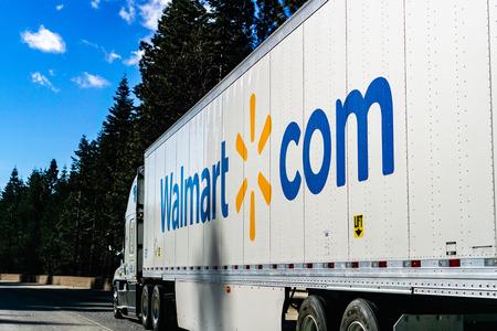 December 27, 2018 Truckee / CA / USA - Walmart truck driving on the interstate through the Sierra mountains