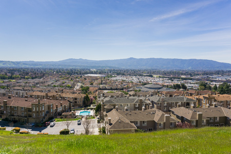 Aerial view of residential neighborhood, San Jose, California Stock Photo