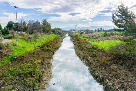 Creek in Shoreline Park, Mountain View, Silicon Valley, San Francisco bay area, California