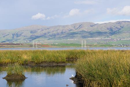 View towards Mission Peak; waterways at; Don Edwards Wildlife Refuge, south San Francisco bay, Alviso, San Jose, California Stock Photo