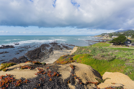 View towards Fitzgerald Marine Reserve at low tide from the path on the bluffs, Moss Beach, California