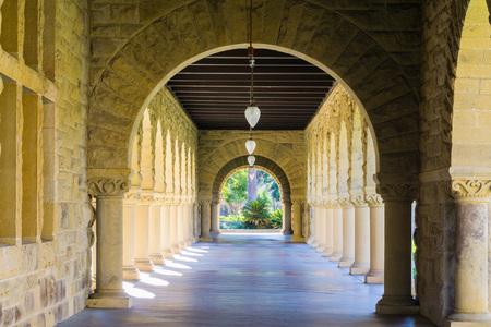Exterior colonnade hallway, Stanford, California Editorial