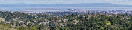 Panoramic view of Redwood City and San Carlos, Silicon Valley, San Francisco bay, California