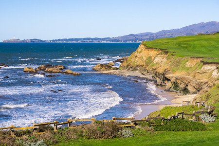 Pacific Ocean Coastline, Half Moon Bay, California Stock Photo