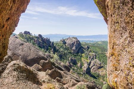 Window in the rock walls, Pinnacles National Park, California 写真素材