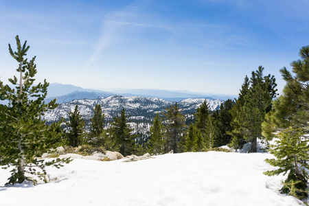 Snowy landscape on the trail to Mount San Jacinto peak, California