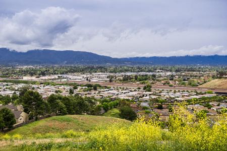 Aerial view of residential neighborhood, San Jose, California Stock fotó