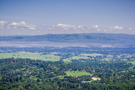 View from Windy Hill towards Sunnyvale and Silicon Valley, south San Francisco Bay Area, California