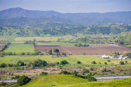 Aerial view of agricultural fields, mountain background, south San Francisco bay, San Jose, California Stock Photo