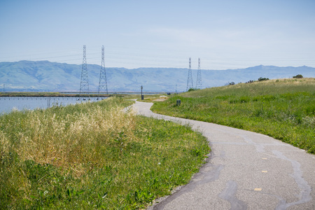 The bay trail at Shoreline Park, Mountain View, San Francisco bay area, California Stock fotó