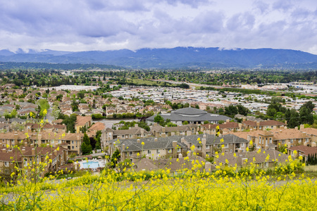 Aerial view of residential neighborhood on a cloudy day, San Jose, California