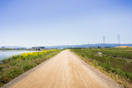 The bay trail near Sunnyvale, San Francisco bay area, California