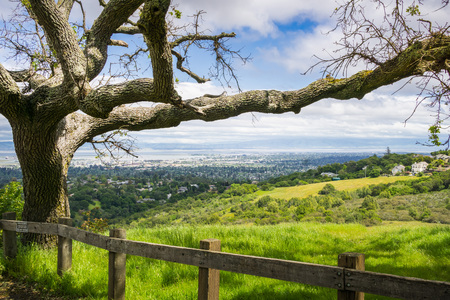 View towards Redwood City and Silicon Valley from Edgewood County Park, San Francisco bay, California