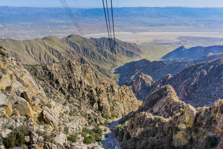 View from the Palm Springs Aerial Tramway on the way up San Jacinto mountain, California Stock Photo