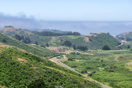 Landscape in Marin Headlands State Park, San Francisco bay, California
