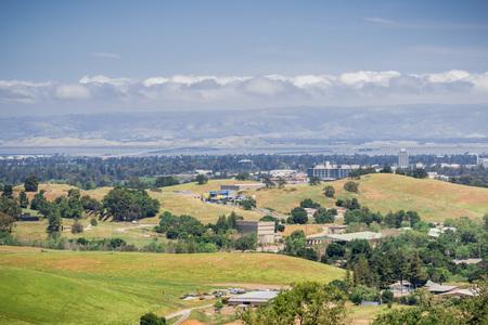 View towards Dumbarton bridge from the San Francisco bay Peninsula, California Stock fotó