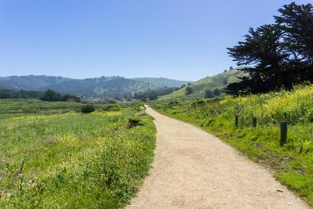 Walking Path at the Mori Point park, Pacifica, Pacific Ocean coastline, California