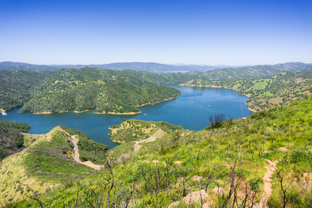 Aerial view of south Berryessa lake from Stebbins Cold Canyon, Napa Valley, California 免版税图像